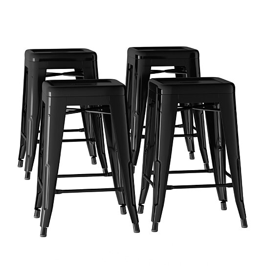 Pleasing Black Metal Bar Stool Set 24 Inch Counter Height Set Of 4 Stackable Stools Ncnpc Chair Design For Home Ncnpcorg
