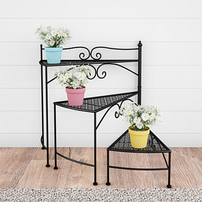67a776bf6dff Black Plant Stand 3-Tier Indoor or Outdoor Folding Spiral Stairs Wrought Iron  Metal Home and Garden Display