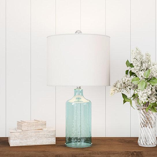 Buy Blue Glass Lamp Open Base Table Light Led Bulb And