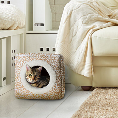 cat safe furniture. Cheetah Cat Cave Hide Out Cube Bed 13 X 12 Removable Pillow Makes Feel Safe Cubby Furniture E