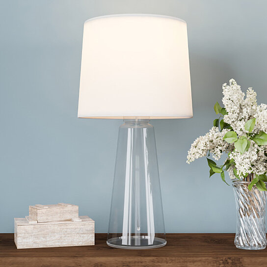 Buy Clear Glass Lamp Open Base Table Light With Led Bulb And Shade