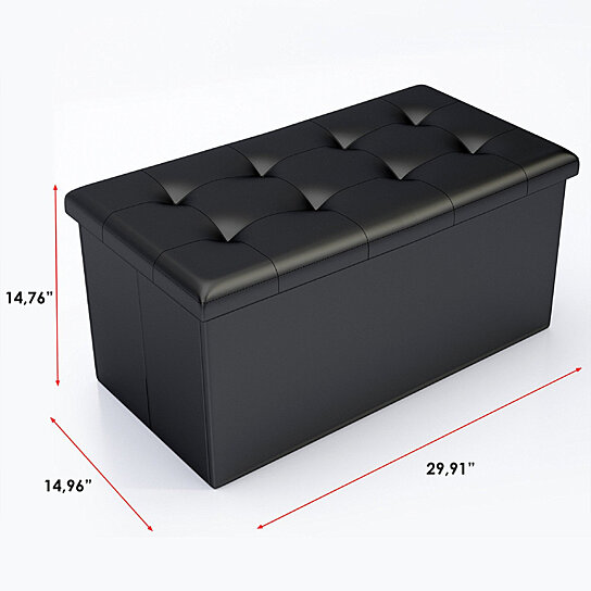 Buy Faux Leather Foot Stool Storage Ottoman Bench With Lid
