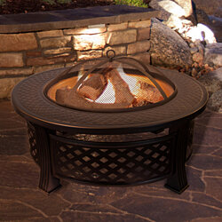 Fire Pit Set, Wood Burning Pit - Includes Spark Screen and Log Poker - Great for Outdoor and Patio, 32 Inch Round Metal Firepit