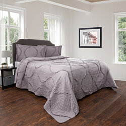 Gray King Size Quilted Bedspread Elegant Ruffle Hypoallergenic 3 Piece with Shams