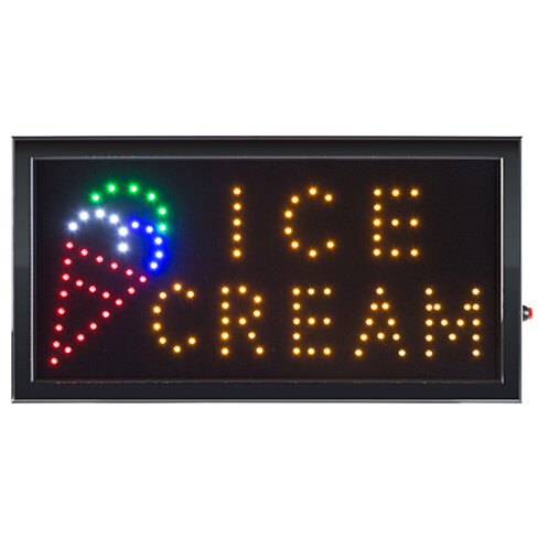 Ice Cream LED Animated Bright Sign 19 x 10 Window Retail Store Neon Wall Hanging