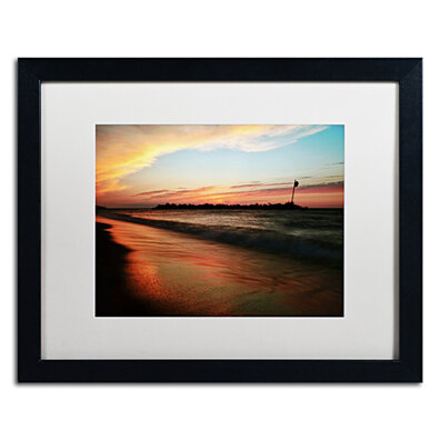 Jason Shaffer 'Lakeview Sunset' Black Wooden Framed Art 18 x 22 Inches