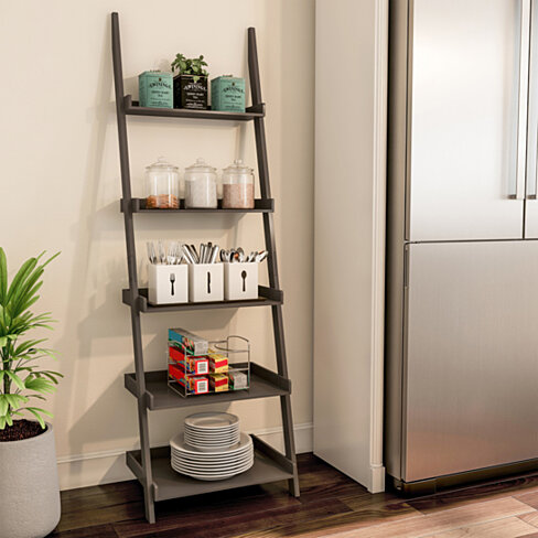 Ladder Bookshelf 5 Tier Leaning Decorative Shelves for Display-Slate Gray Shelf Stand-Living Room, Bathroom & Kitchen Shelving