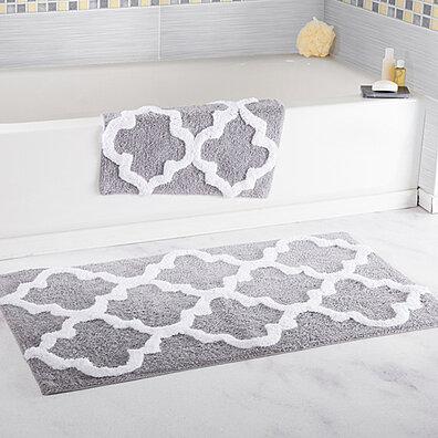Lavish Home 100 Cotton 2 Piece Trellis Bathroom Mat Set Silver