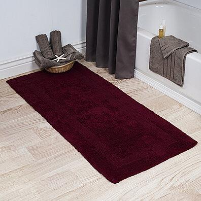 Lavish Home 100% Cotton Reversible Long Bath Rug   Burgundy   24x60
