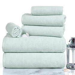 Lavish Home 100% Cotton Zero Twist 6 Piece Set - Seafoam