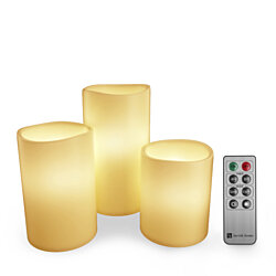 3 Piece LED Flameless Candle Set with Remote and Timer Battery Operated