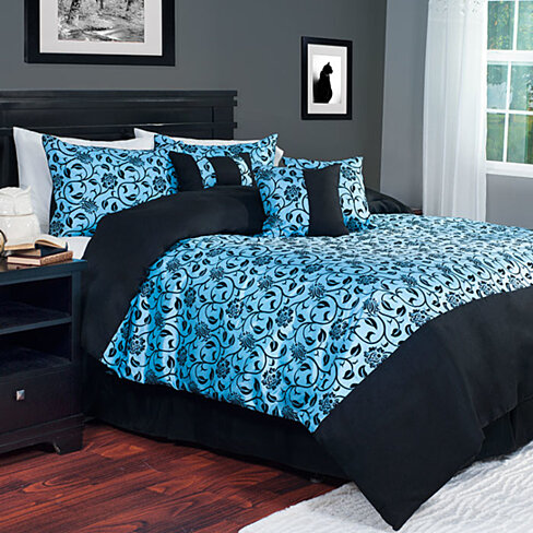 Lavish Home 7 Piece Victoria Damask Comforter Set - King