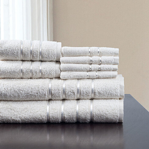 Lavish Home 8 Piece 100% Cotton Plush Bath Towel Set - White