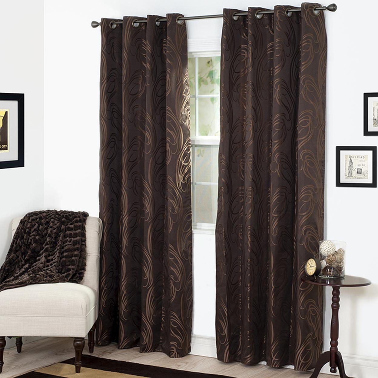"Lavish Home Dinah Jacquard Curtain Panel 84\"" Chocolate"
