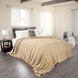 Lavish Home Fleece and Sherpa Blanket - King - Taupe