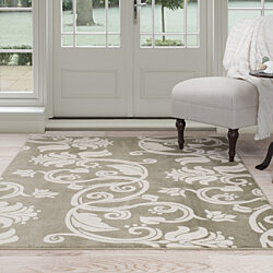 Lavish Home Floral Scroll Area Rug 8'x10' - Green & Ivory