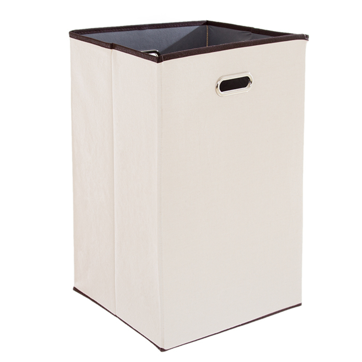 Lavish Home Folding 23 Inch Canvas Laundry Hamper Beige