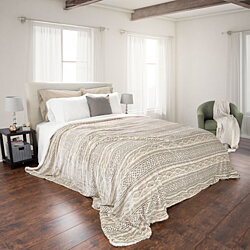 24750765f8 Lavish Home Fuzzy Warm Soft Blanket - Full Queen - Grey Beige