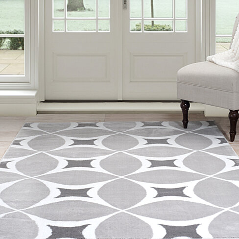 Lavish Home Jane Area Rug 8'x10' - Grey & White