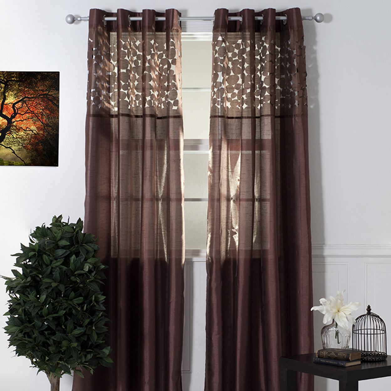 Lavish Home Karla Laser-cut Grommet Curtain Panel Chocolate