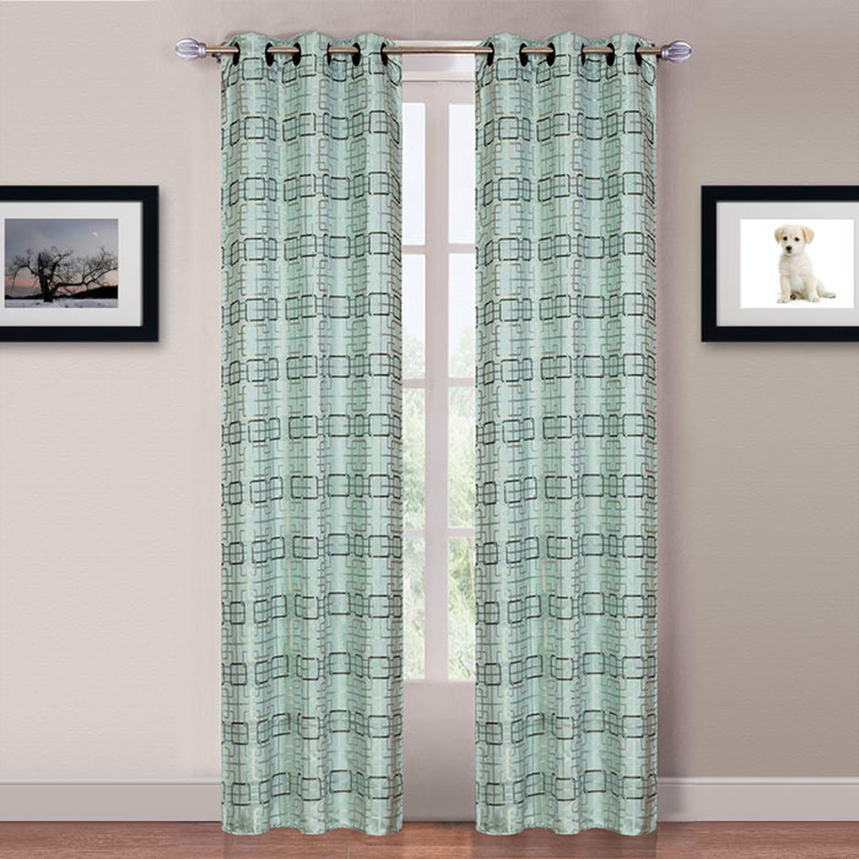 Lavish Home Katrina 2 Panel Grommet Curtains Blue