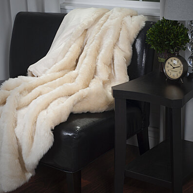 Lavish Home Luxury Long Haired Faux Fur Throw - Beige