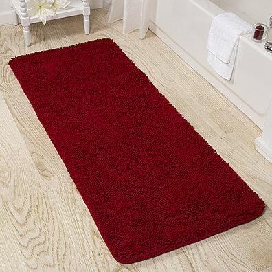Lavish Home Memory Foam Shag Bath Mat 2 Feet By 5 Feet   Burgundy
