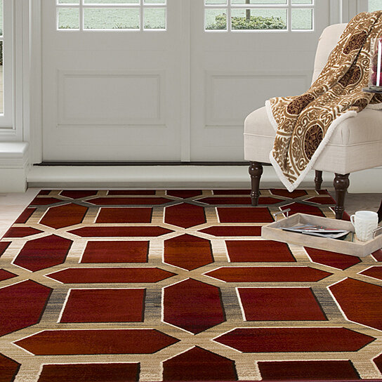 Buy Lavish Home Opus Art Deco Area Rug Burgundy 8 X10