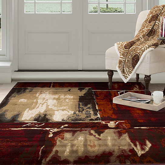 Lavish Home Opus Artfully Abstract Area Rug Red 5 3 X7 7 By Destination On Dot Bo