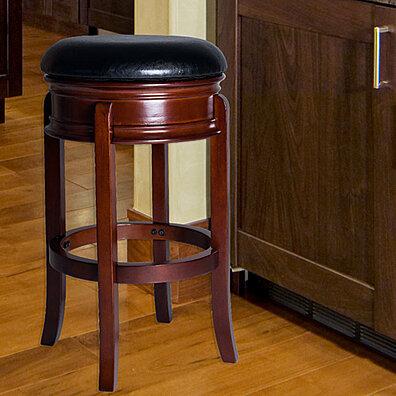 lavish home ornate base wood swivel bar stool dark wood grain base