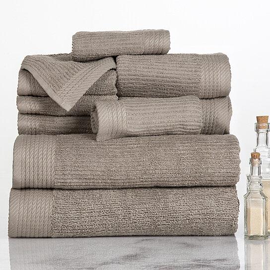 Lavish Home Ribbed 100 Cotton 10 Piece Towel Set Taupe