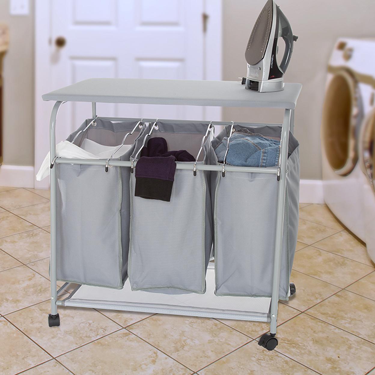 Lavish Home Rolling 3 Bin Laundry Sorter And Ironing Station Gray