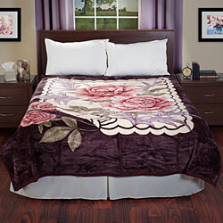 Queen Size Luxury Super Soft Fuzzy Rose Blanket Mink Feel Floral Bedding Heavy 7.5 Pounds