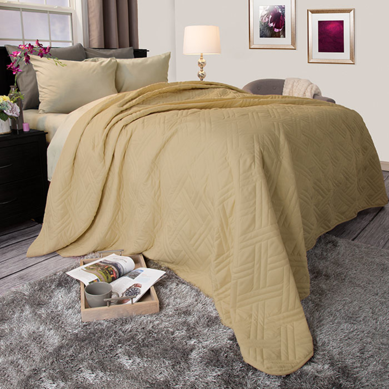 Lavish Home Solid Color Bed Quilt TwinTaupe