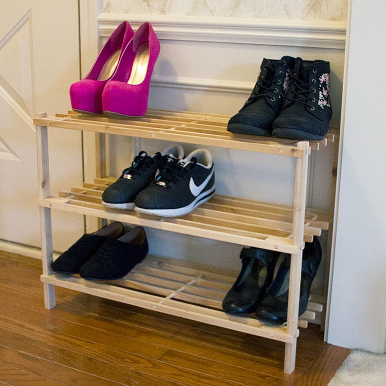 Lavish Home Three-tier Blonde Wood Storage Shoe Rack