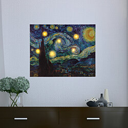 Lighted Wall Art Canvas With Timer- Van Gogh Starry Night Printed Decor with LED And Color 12 x 16 Inch