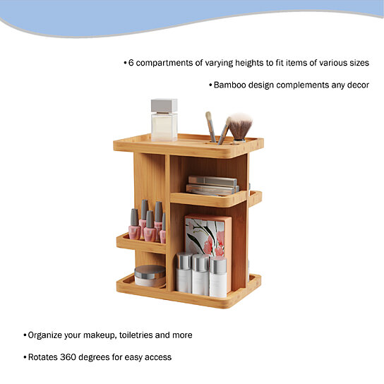Makeup Organizer – Rotating Eco-Friendly Compact Modern Bamboo Skincare  Cosmetic and Vanity Carousel