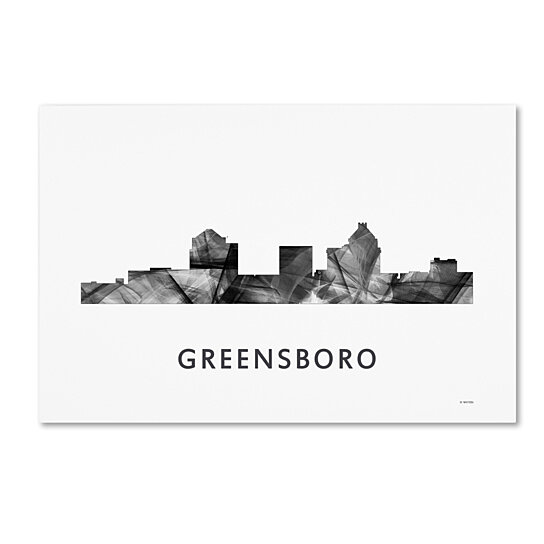 Buy Marlene Watson Greensboro Nc Skyline Wb Bw Canvas