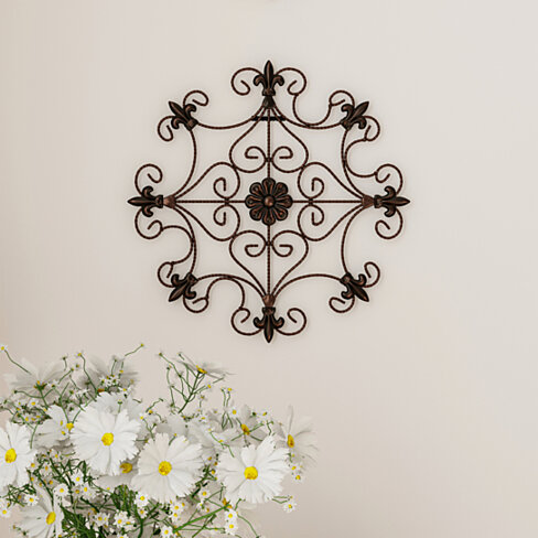 Medallion Metal Wall Art- 14.25 Inch Square Open Edge Metal  Hand Crafted with Distressed Finish
