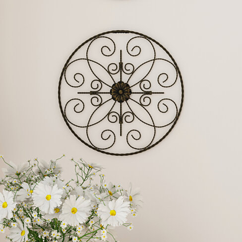 Medallion Metal Wall Art- 14 Inch Round Metal  Hand Crafted with Distressed Finish