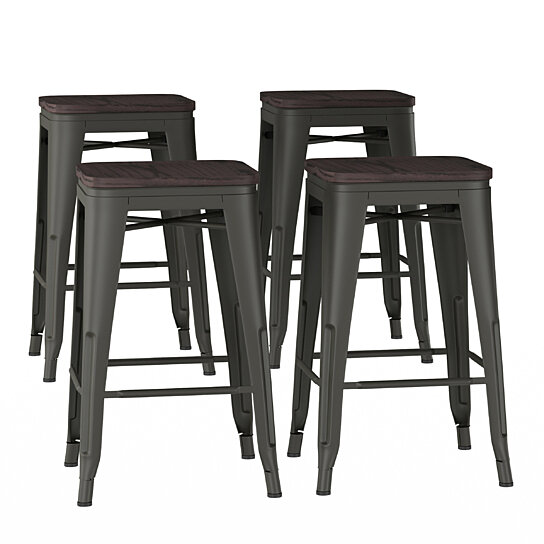 Super Metal Bar Stool Set 24 Inch Counter Height Set Of 4 Stackable Stools With Solid Square Elm Wood Seat Uwap Interior Chair Design Uwaporg