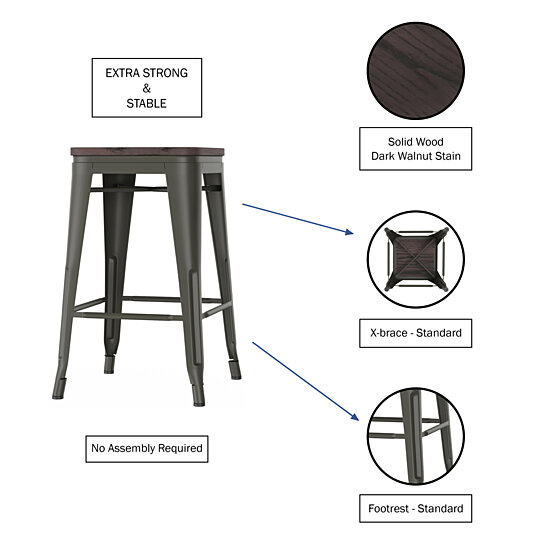 Buy Metal Bar Stool Set 24 Inch Counter Height Set Of 4