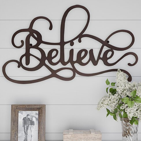 "Metal Cutout ""Believe"" Rustic Decorative Wall Sign 24 Inches Long"