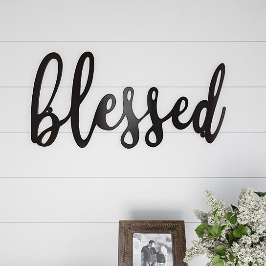 Buy Metal Cutout- Blessed Decorative Wall Sign-3D Word Art ...