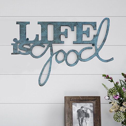Metal Cutout- Life is Good Decorative Wall Sign-3D Word Art Home Accent Decor