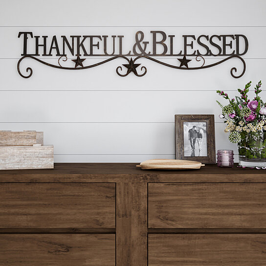 Buy Metal Cutout Thankful And Blessed Decorative Wall Sign