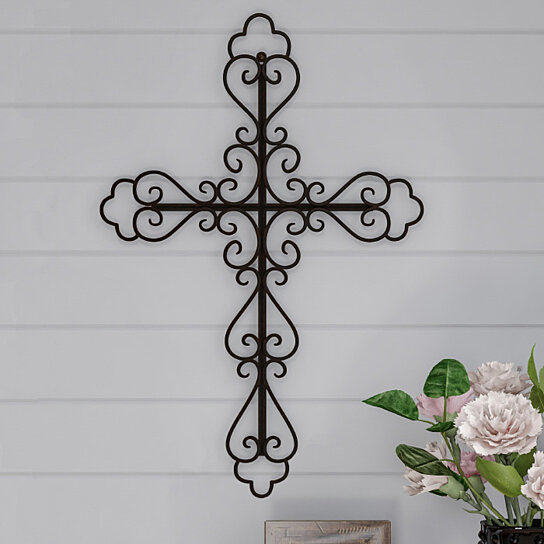 Metal Wall Cross With Decorative Fleur De Lis Design Rustic Handcrafted Religious Wall Art For Decor In Living Room Bedroom