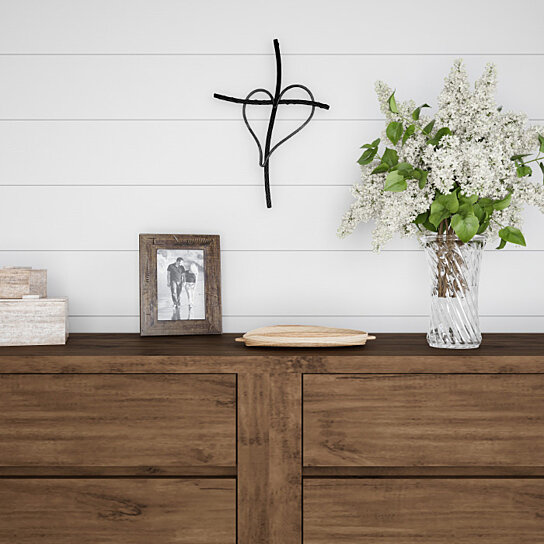 Buy Metal Wall Cross With Decorative Gold Heart Design Rustic Handcrafted Religious Wall Art For Decor In Living Room By Destination Home On Dot Bo