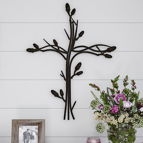 Metal Wall Cross with Decorative Intertwined Vine Design- Rustic Handcrafted Religious Art for Decor in Living Room, Bedroom