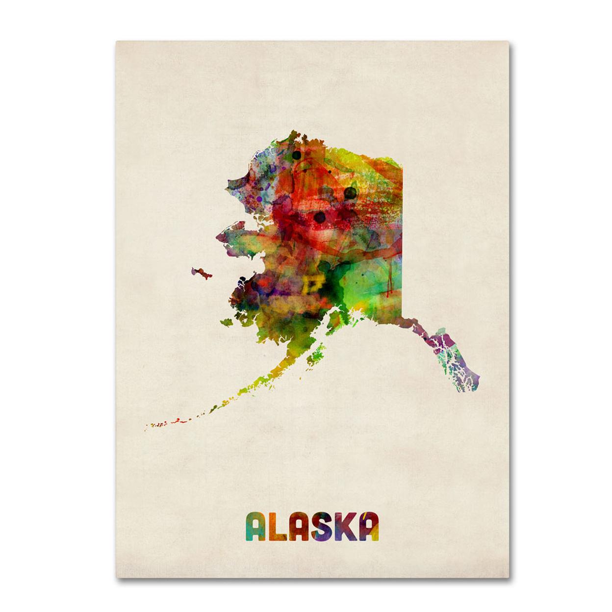 Michael Tompsett Alaska Map 14 X 19 Canvas Art
